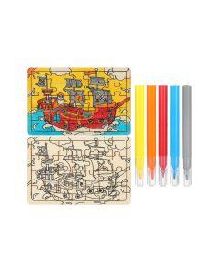 Sea Rover Wooden Colouring Set